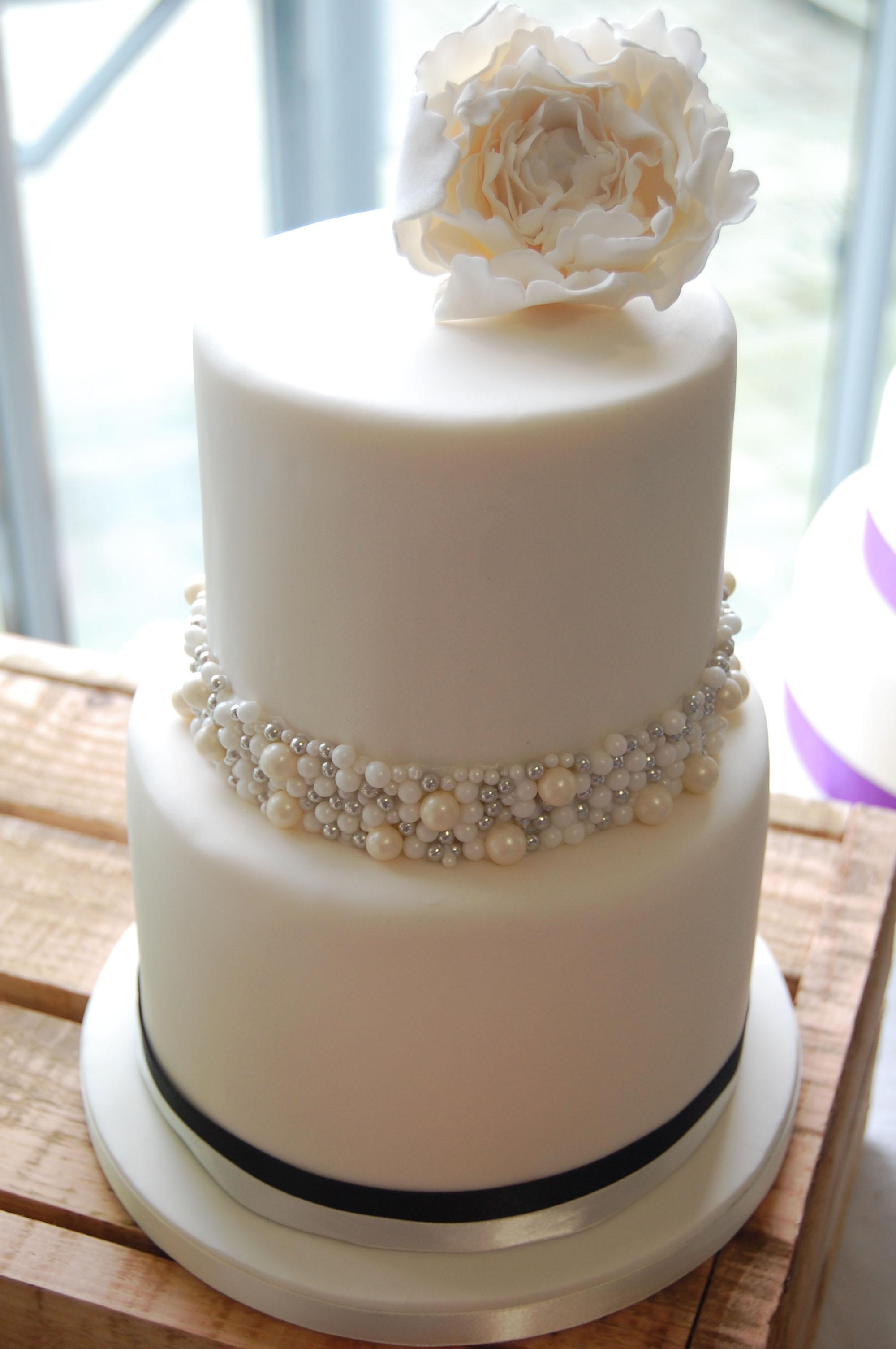 Peony And Pearls Wedding Cake
